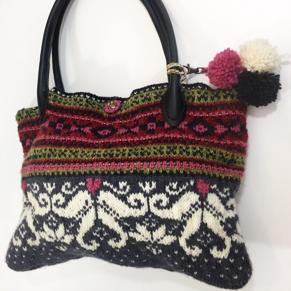 Knitted bag by tutor Sally Hart