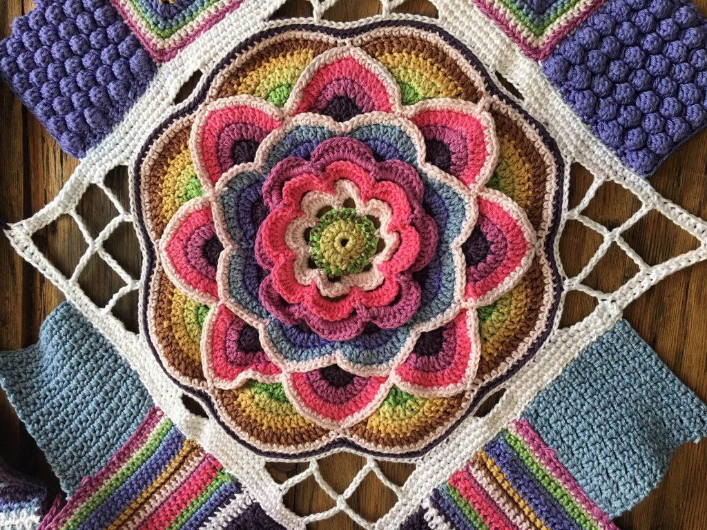 Intricate crocheted flower by knitting and crochet tutor at SST, Sally Hart