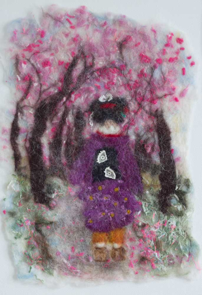 A Japanese scene made from Felt by Eve Webb, submitted for the Creative Bursary Scheme.