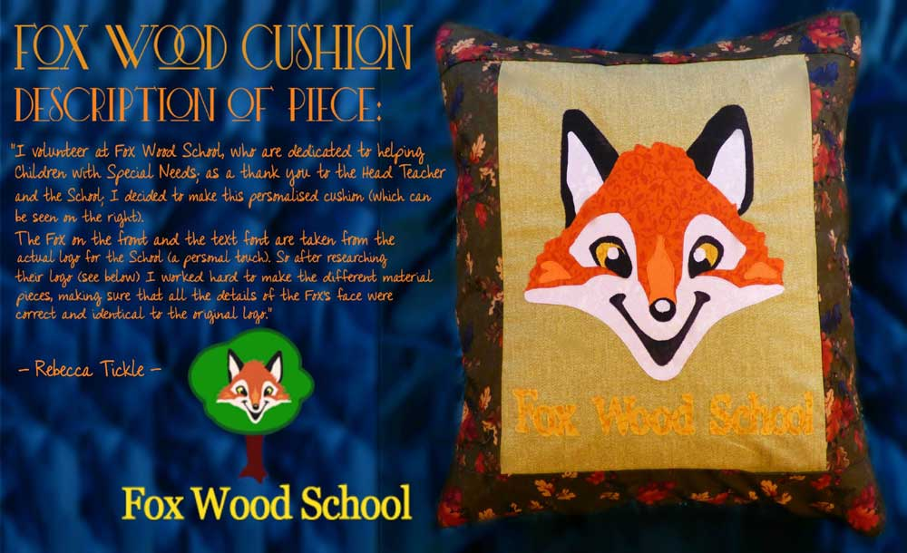 Patchwork cushion design and created by Rebecca Tickle