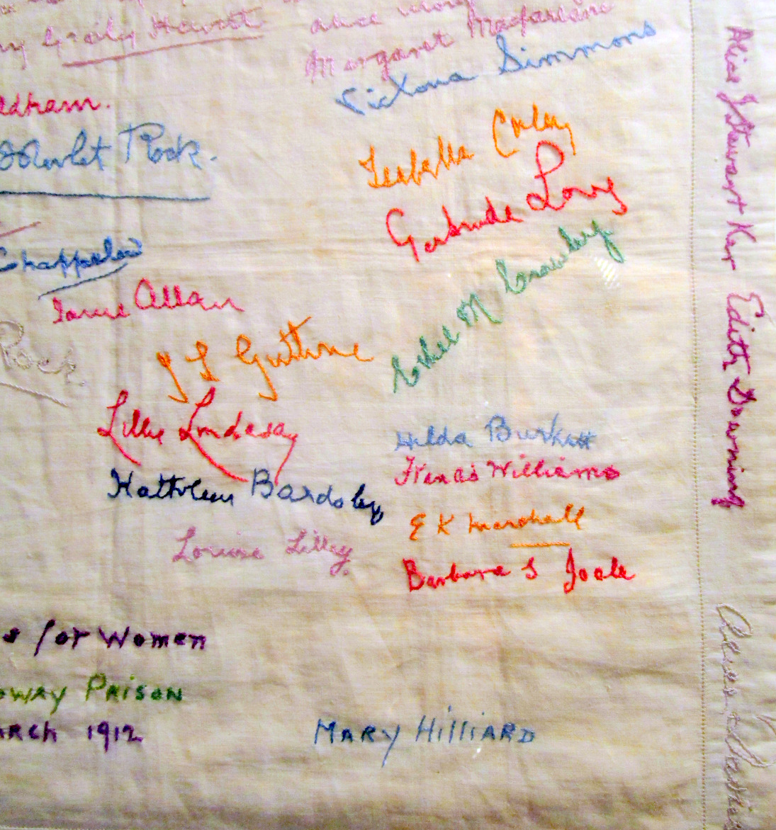 Embroidery by Holloway prisoners Suffragette movement