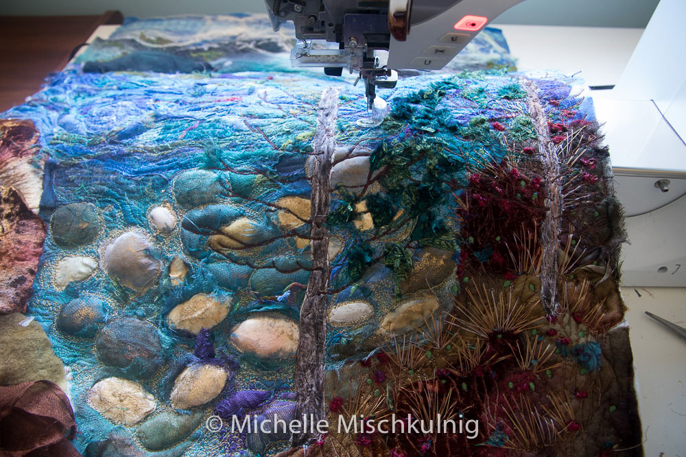 Michelle Mischkulnig working on her embroidery project