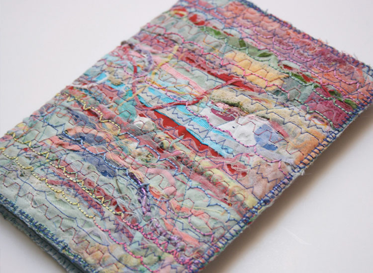 A Book cover created from creative machine embroidery