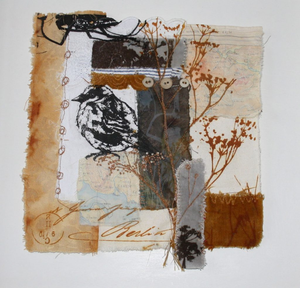 Sparrow mixed media print by Sue Brown