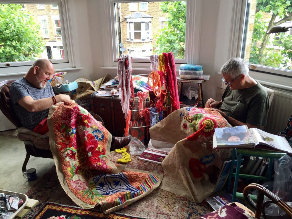 Working together in Kaffe Fassett's studio in England