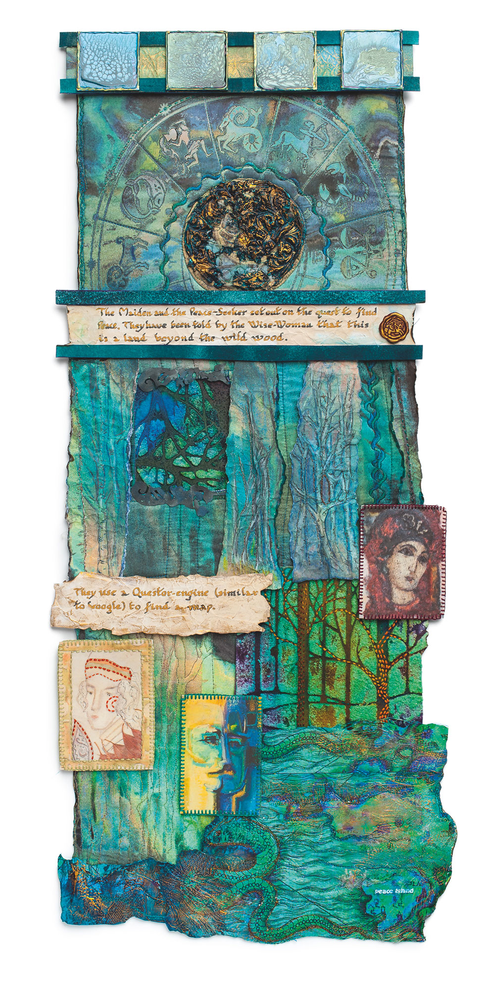 Peace Seeking. A mixed media piece by textiles artist, Maggie Grey