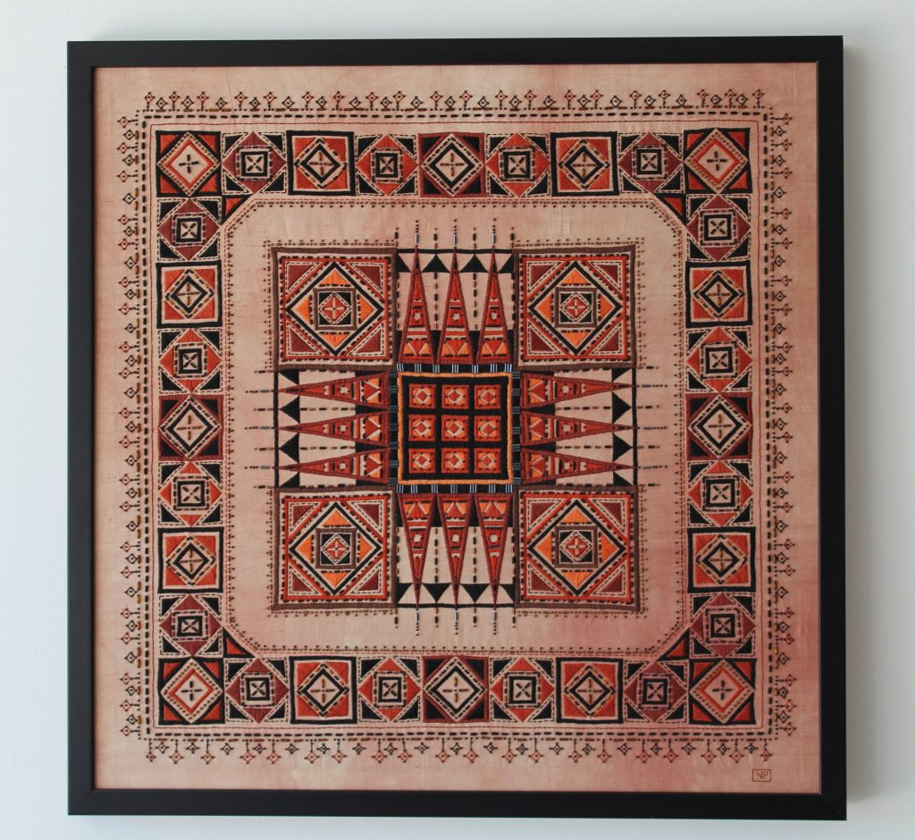 Mosaic Hand Embroidery based on traditional Romanian textiles design