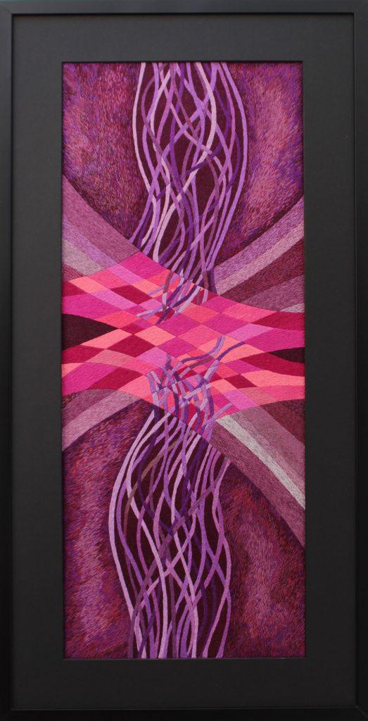 Streth Purple hand embroidery by fibre artist Victoria Potrovitza