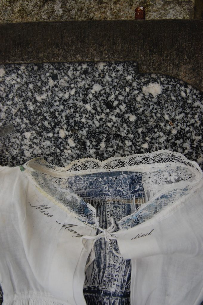 Victorian garments used to created hand embroidered collages by Mandy Pattullo