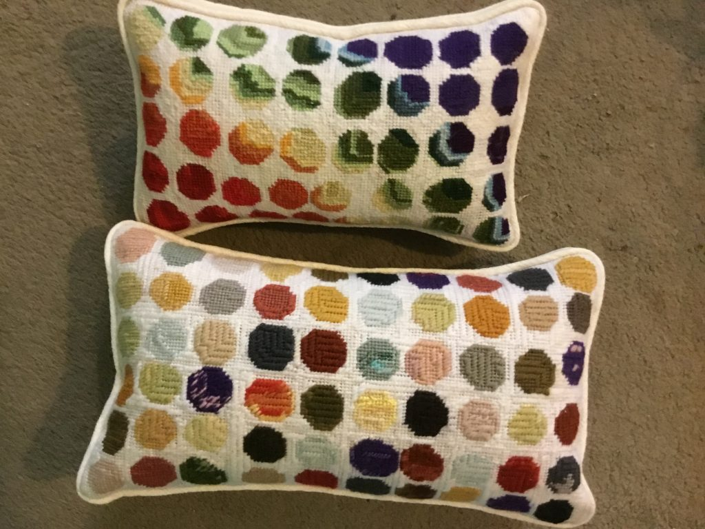 Hand embroidered cushions by Claire Frampton. Shortlisted for a creative bursary by the School of Stitched Textiles.