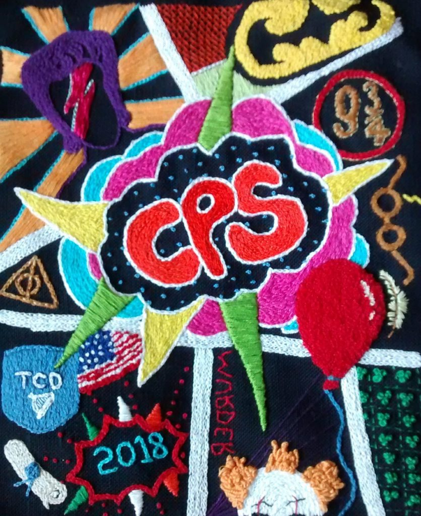 Pop Art Hand Embroidery designs by Sally-Ann Duffy submitted to School of Stitched Textiles creative bursary Scheme and shortlisted.