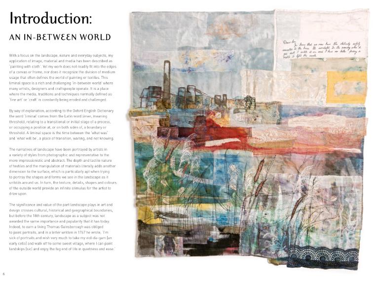 Textile Landscape inside book page by Cas Holme