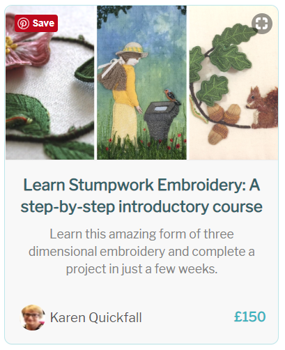 Preview of Stumpwork embroidery beginners course by School of Stitched Textiles