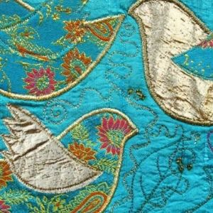 Machine Embroidery project featuring embroidered patchwork birds