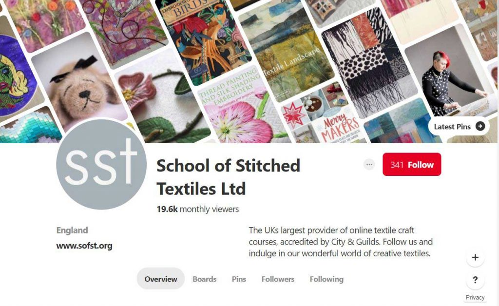 The School of Stitched Textiles Pinterest Profile