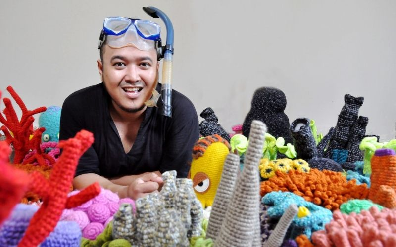 Mulyana with his ocean underwater knits
