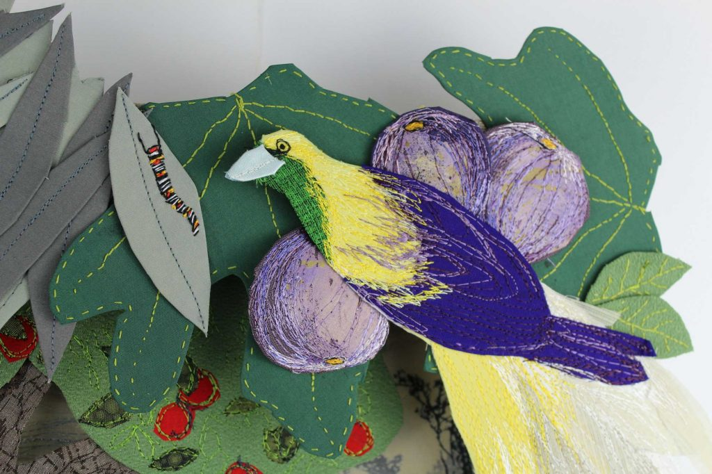 A close up of a bird detail fro Sylvia Paul's exhibition piece, Hiding From God