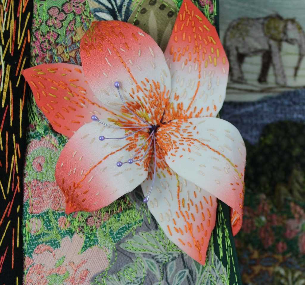 A close up of the flower detail fro Sylvia Paul's exhibition piece, Hiding From God
