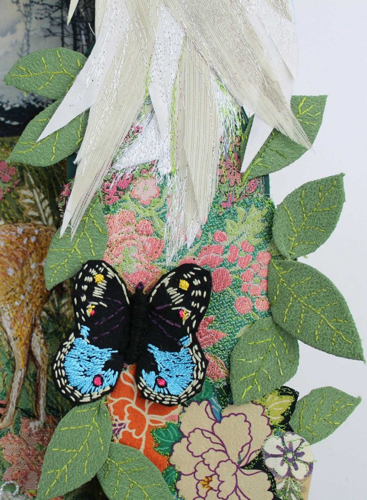 A close up of a butterfly detail fro Sylvia Paul's exhibition piece, Hiding From God