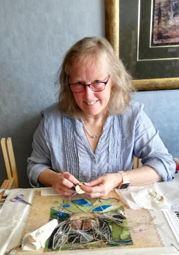 HAzel Francis working on her courses at the School of Stitched Textiles