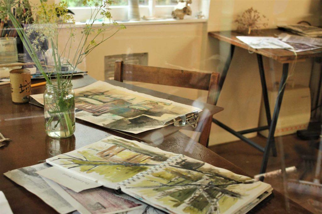 A shot of Cas Holmes' studio