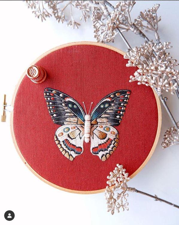 Divya Nandani, embroidered butterfly