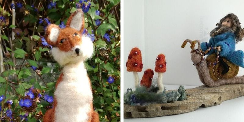 Felted fox by Wendy Dawson. Application to School of Stitched Textiles bursary.