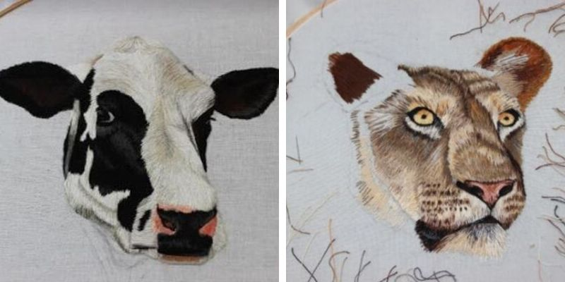 Hand Embroidered work by Elysia Cusworth which was entered into School of Stitched Textile's bursary competition.
