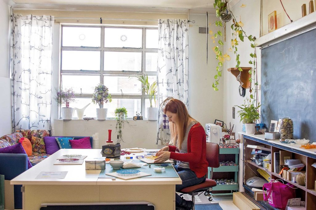 Meredith at work in her studio