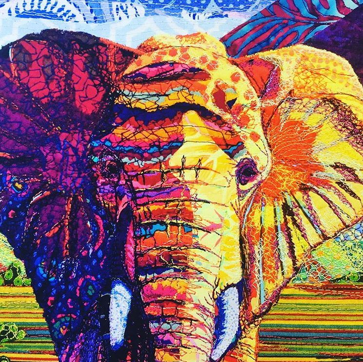 Embroidered elephant by Kay Rundel