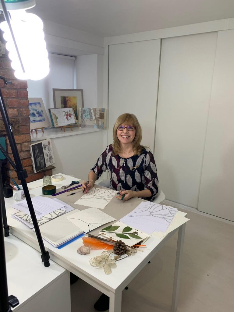 Ruth Clayton (Kidd) filming new drawing course the School of Stitched Textiles