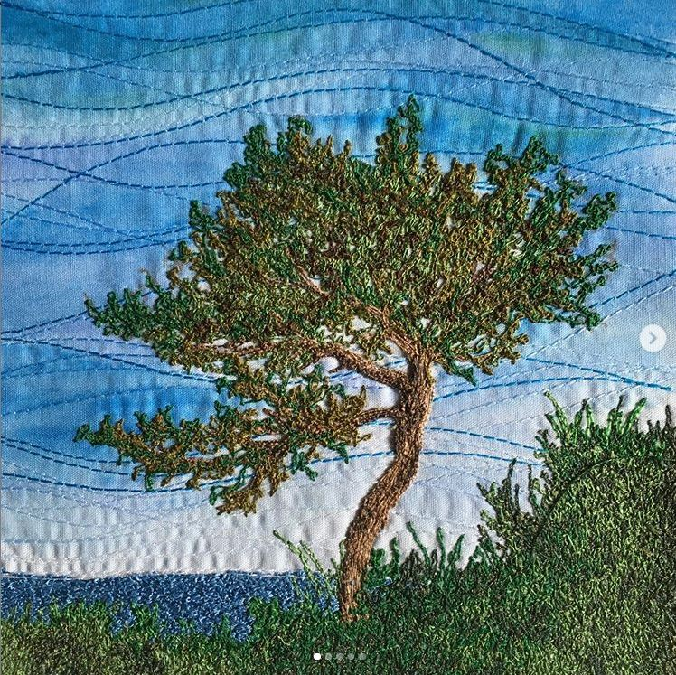 Embroidered tree by Sarah Lawton