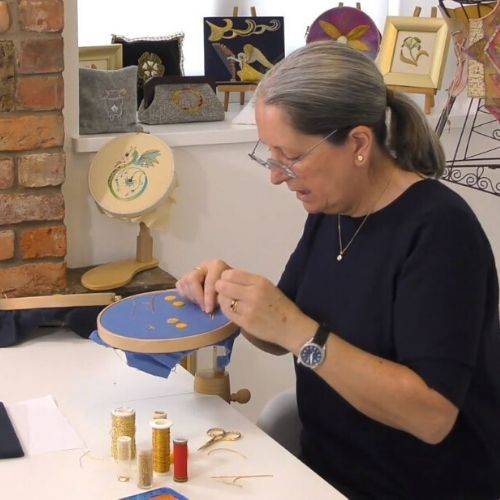 Sara Dennis in action on our new online Goldwork course