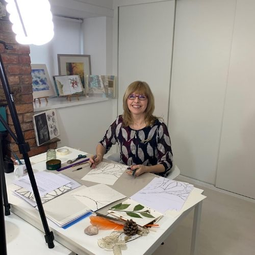 Ruth Clayton filming Drawing for Design course at the School of Stitched Textiles