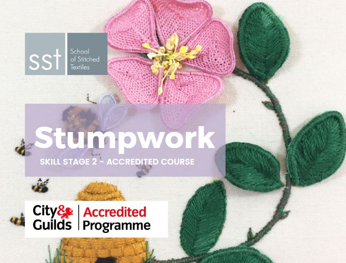 Stumpwork raised embroidery course brochure