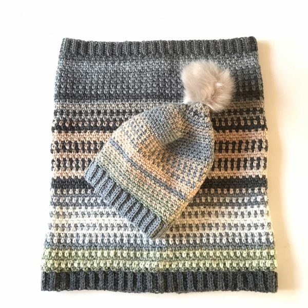 Crocheted hat and scarf pattern by Amanda Jones Crochet Graduate