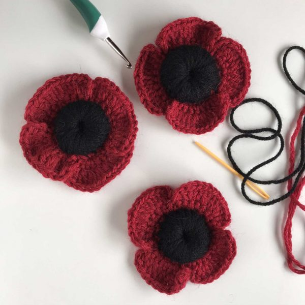 Crochet poppies by crochet graduate Amanda Jones