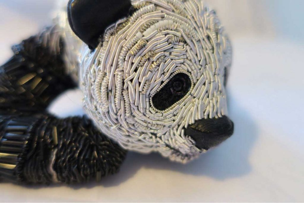 Panda embroidery sculpture by Georgina Bellamy