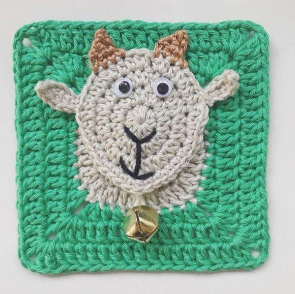goat granny square by Nyree @lamarshian