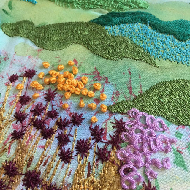 Machine Embroidery Landscape by Vicky OLeary