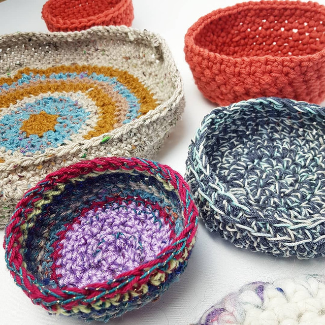 Crocheted bowls by Mary Pilsworth