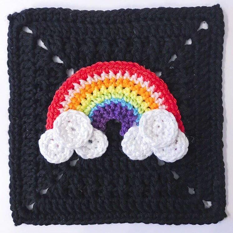 Rainbow granny square by Nyree @lamarshian