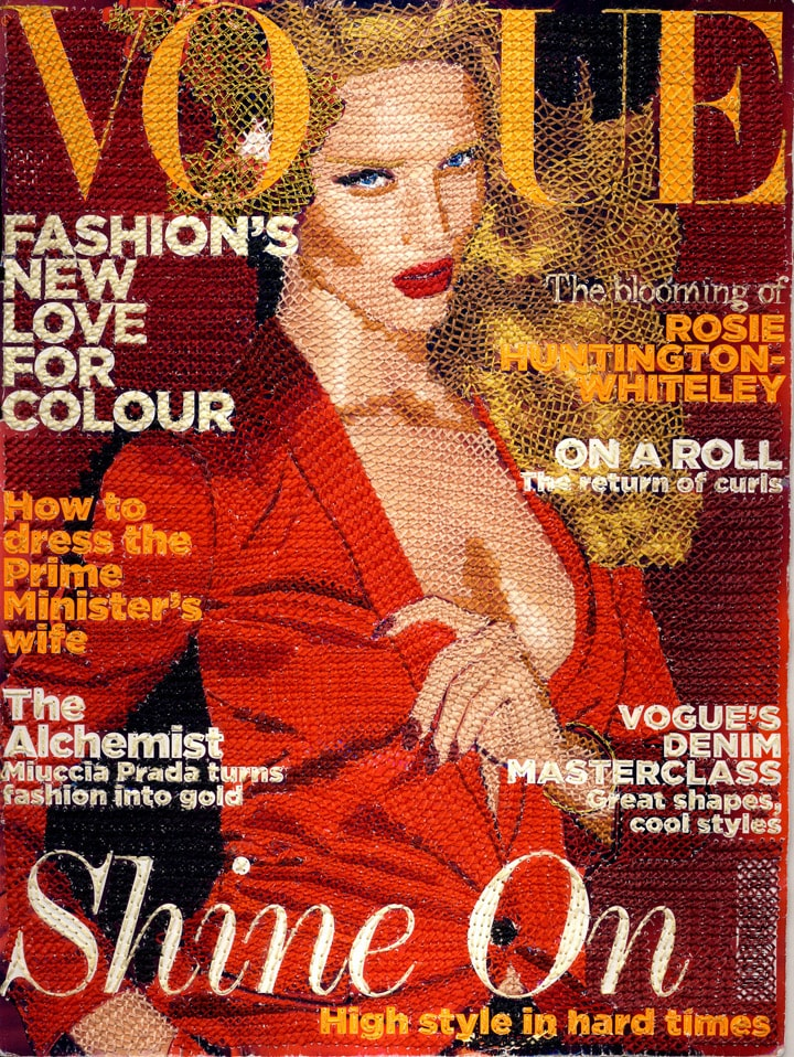 Vogue front cover embroidered by Inge Jacobsen in 2011