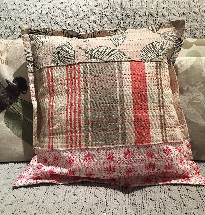 Slow stitch cushion