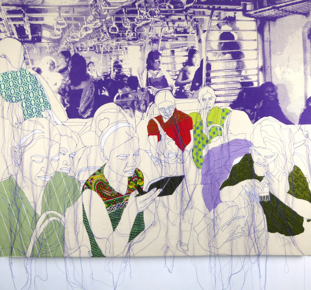 Stitched crowds of people by Rosie James