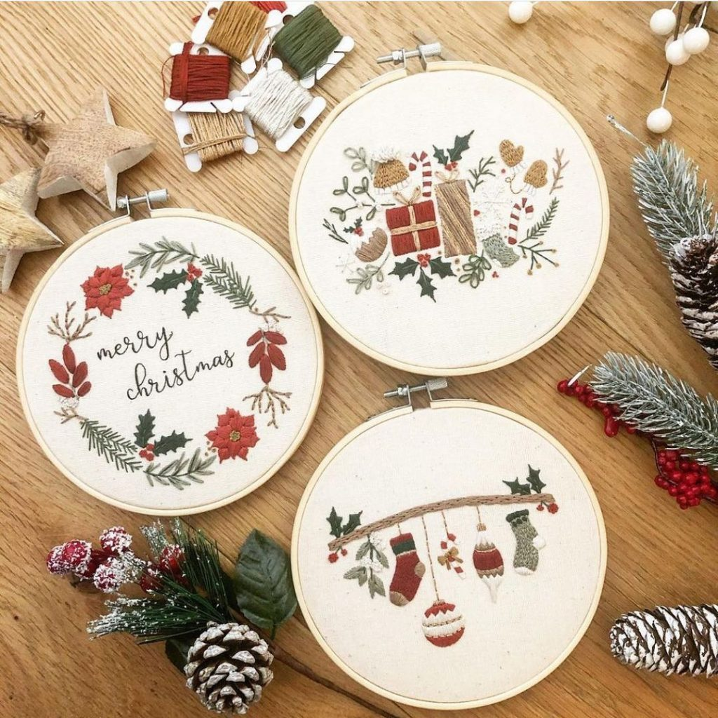 Christmas themed embroidery by @mindfulmantra_embroidery