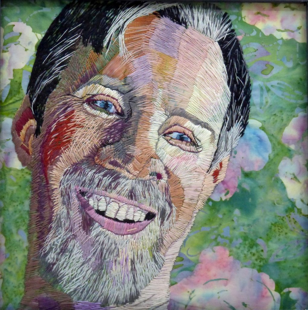 Hand Embroidered portrait by Denise Dent