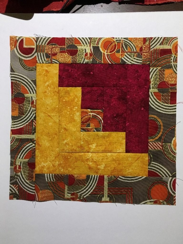 Log cabin Patchwork Quilt sample by Gabrielle, Textile student