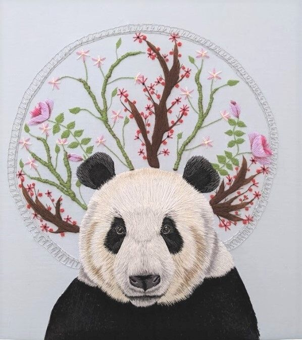 Panda Hand Embroidery by Elysia Cusworth