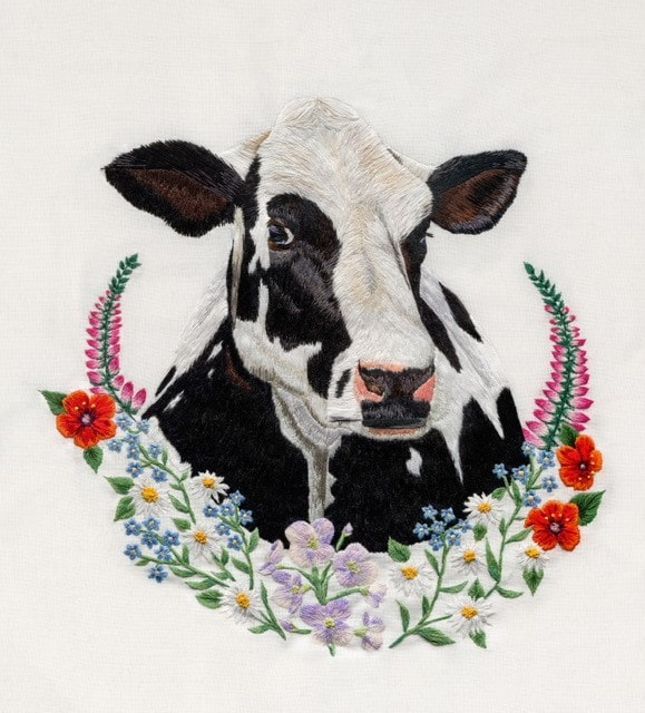 Cow Hand Embroidery design by Elysia Cusworth